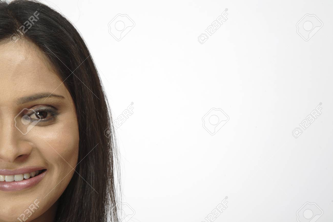 Young Girl Open Hair Half Face At Left Side Of Frame Stock Photo ...