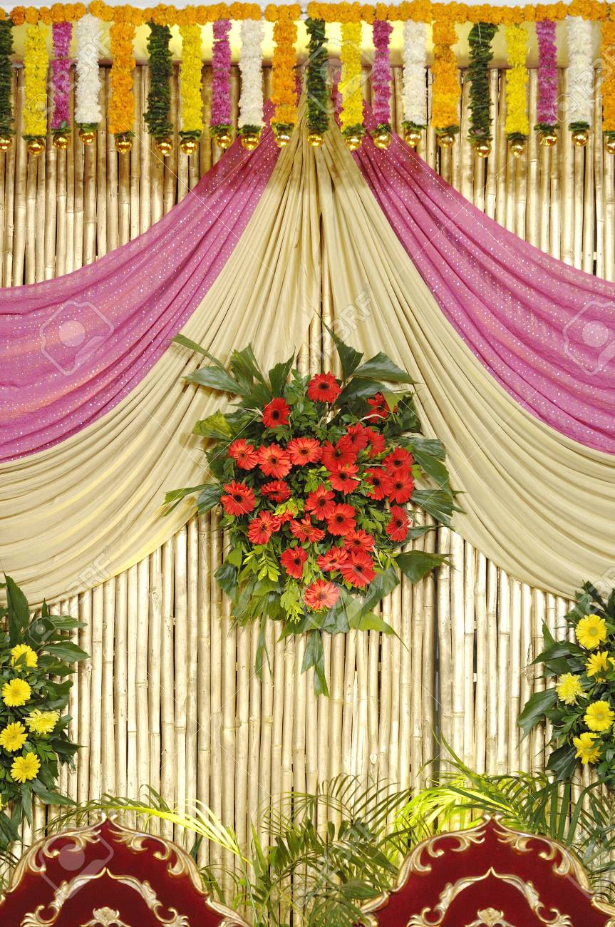 Decoration using flowers cloth and bamboo for wedding reception decoration using flowers cloth and bamboo for wedding reception in indian hindu maharashtrian wedding ceremony junglespirit Image collections