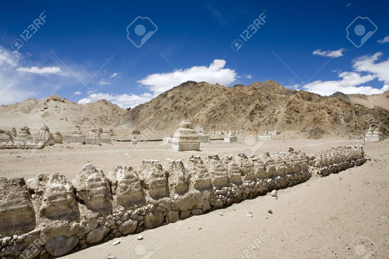 Buddhist Stupas In Typical Cold Desert Barren Landscape In Shey