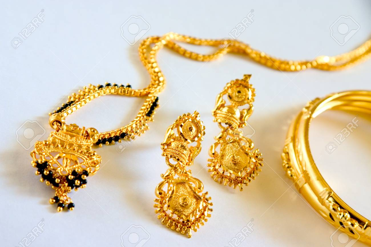 Concept,gold And Black Beads Necklace Mangalsutra Hindu Bride ...