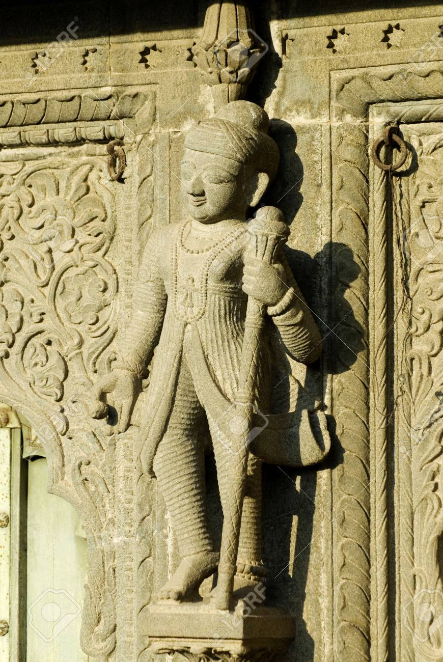 Watchman With Stick In His Hand Carved In Stone On Wall Of Maheshwar ...