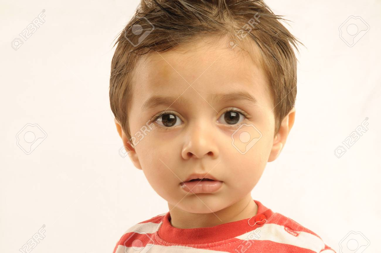 Boy looking anxiously with broad eyes - 85910207