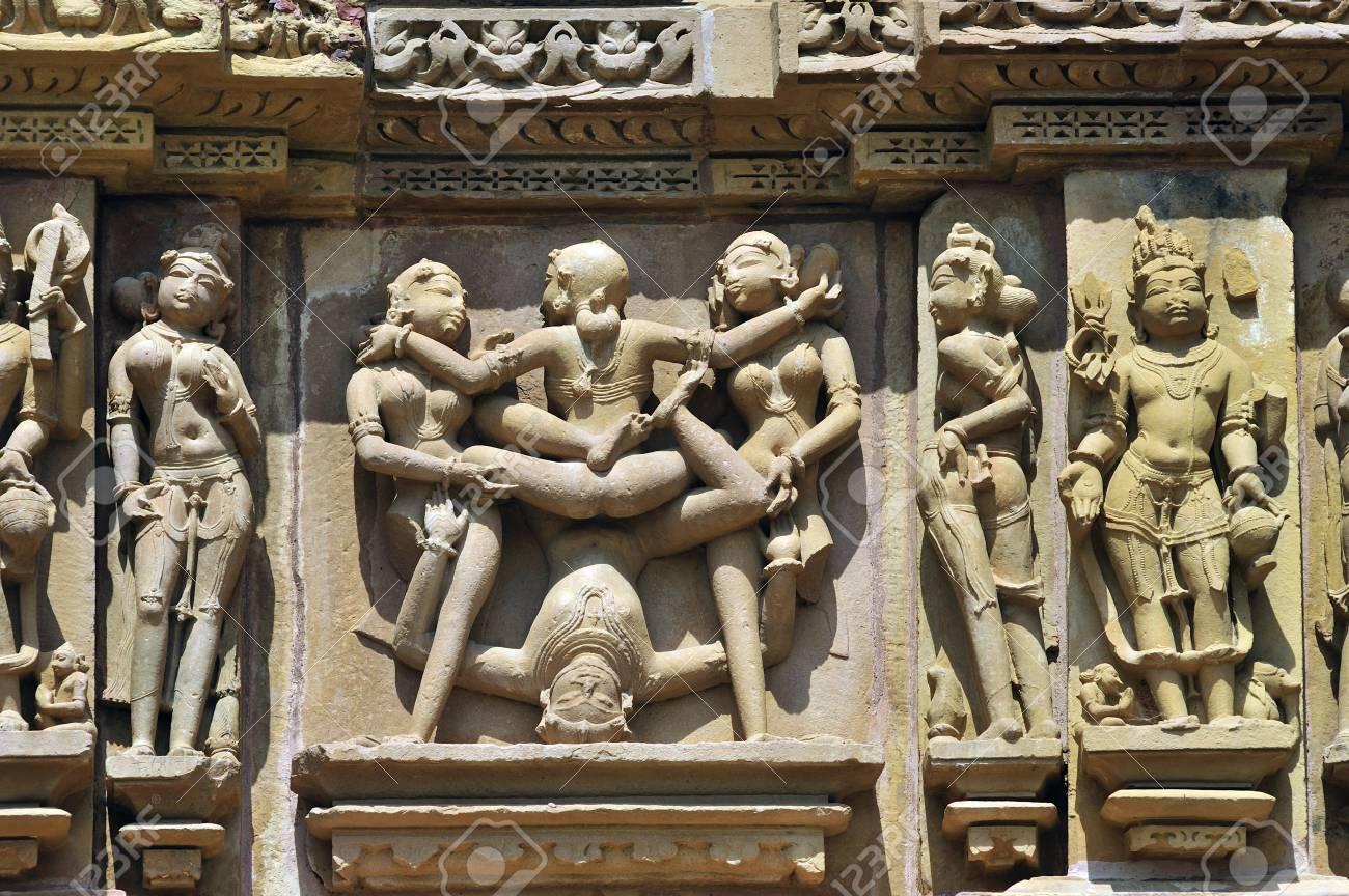 Khajuraho mithuna couples on wall of lakshmana temple madhya