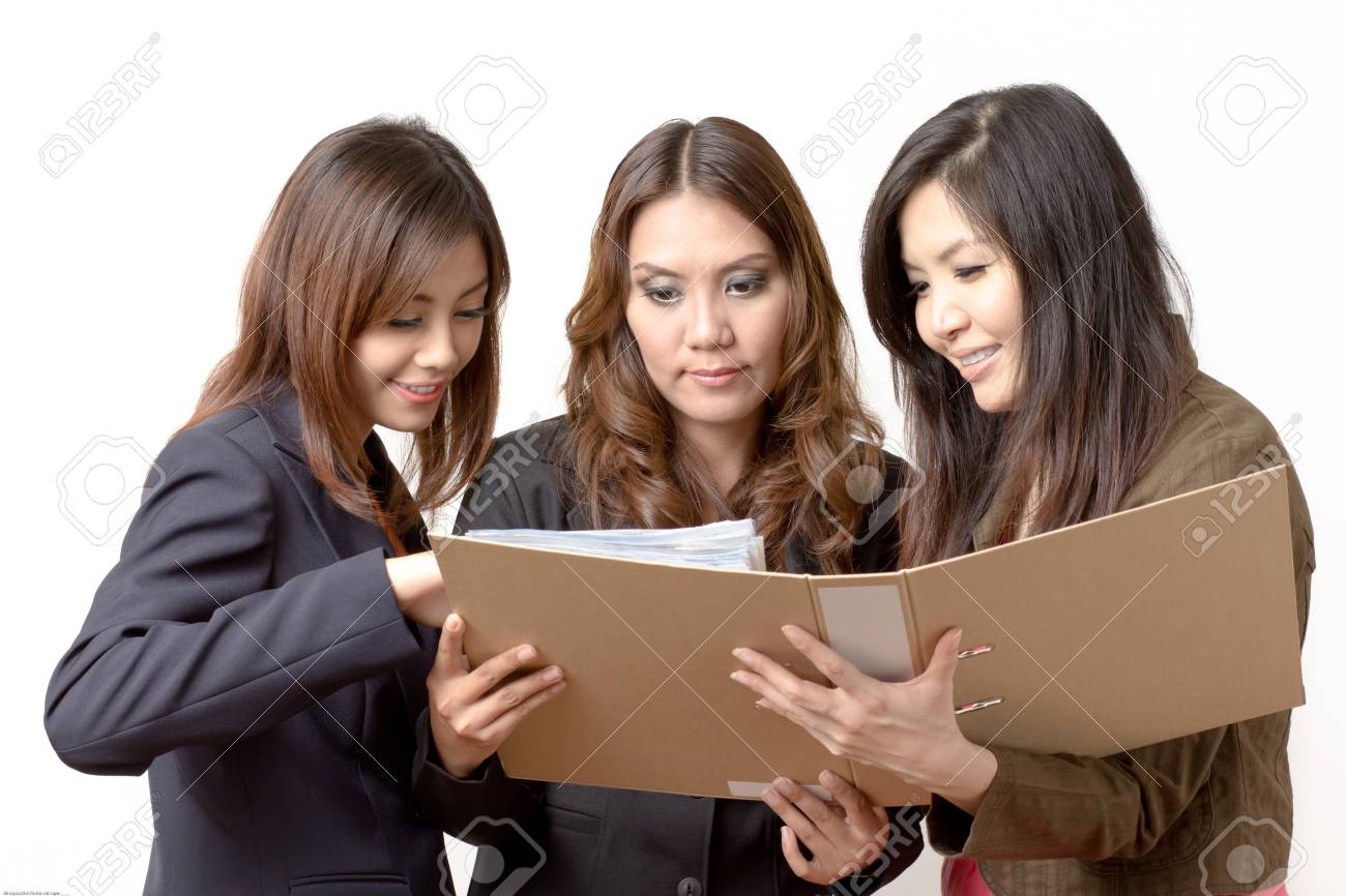 Employees open the file Stock Photo - 20959982