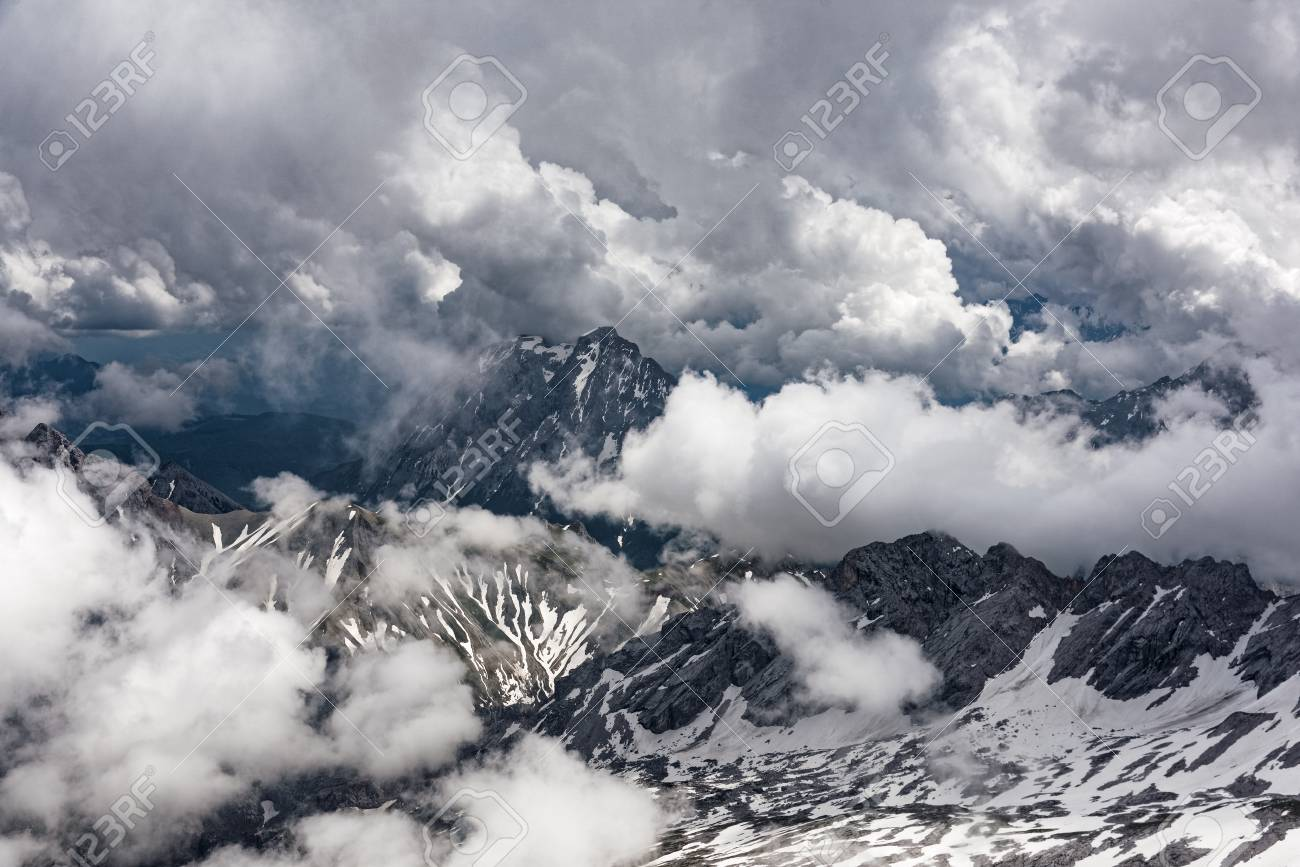 panoramic view to the bavarian alps from zugspitze, the highest
