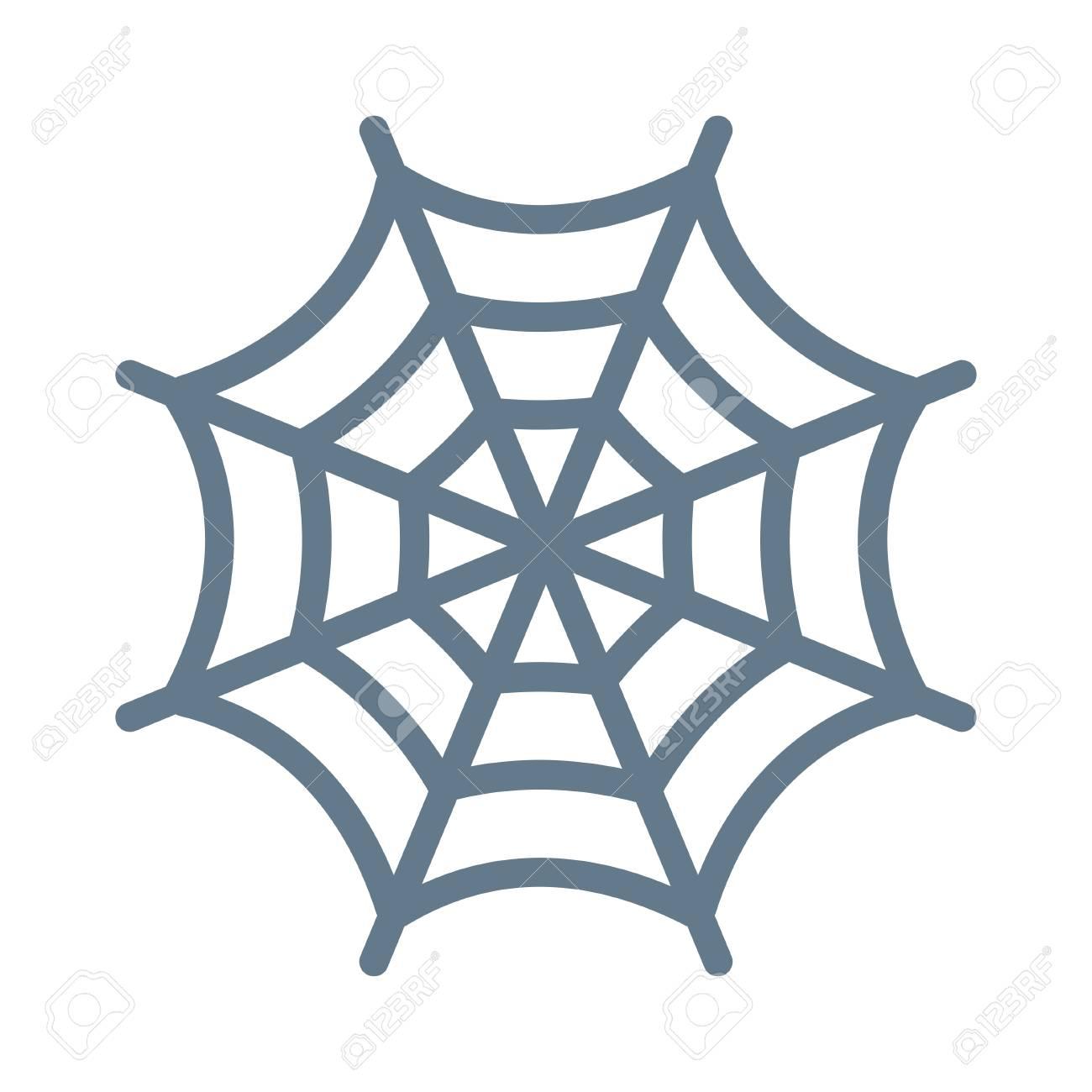 Cobweb Halloween Concept In Colorful Cartoon Illustration