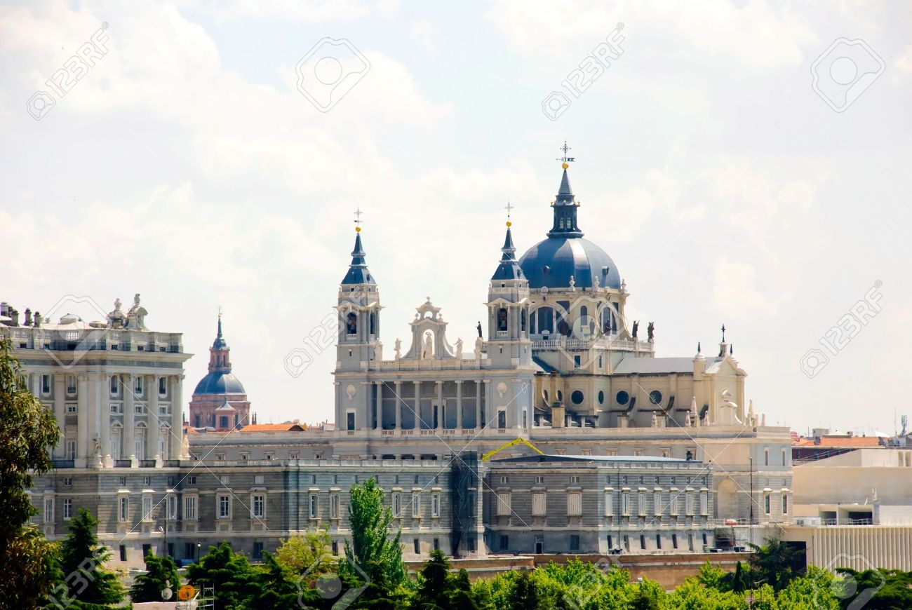 view to palacio real royal palace madrid spain stock photo