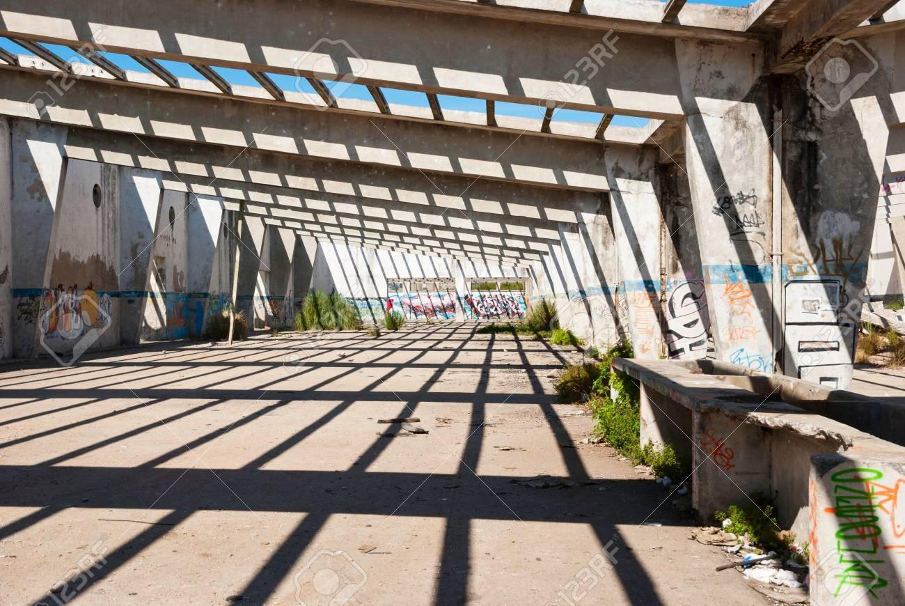 Interior of abandoned factory building, full of graffiti Stock Photo - 21549674