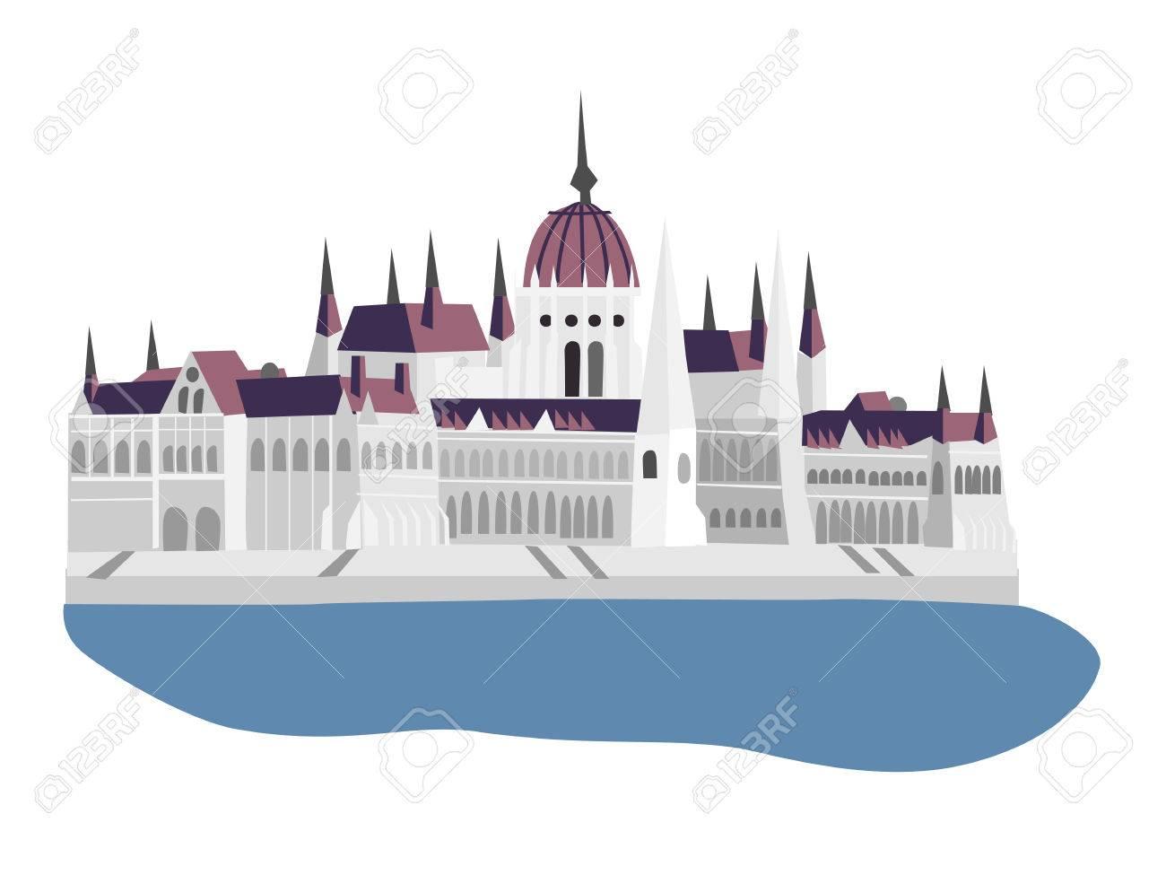 ハンガリー、ブダペスト、ベクトル イラストの議会 ロイヤリティフリー
