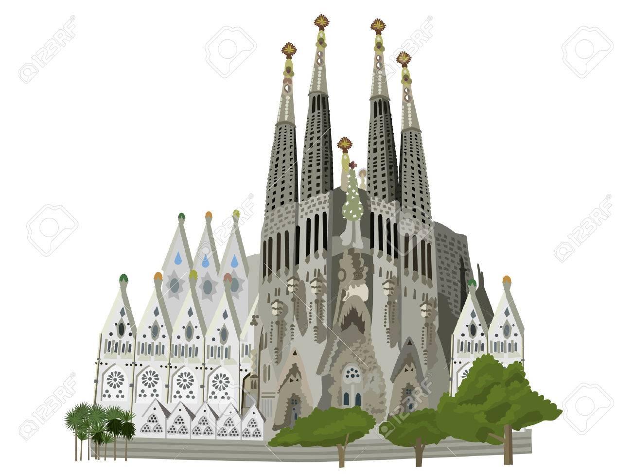 サグラダ ファミリア教会 バルセロナ ベクトル イラストのイラスト素材 ベクタ Image