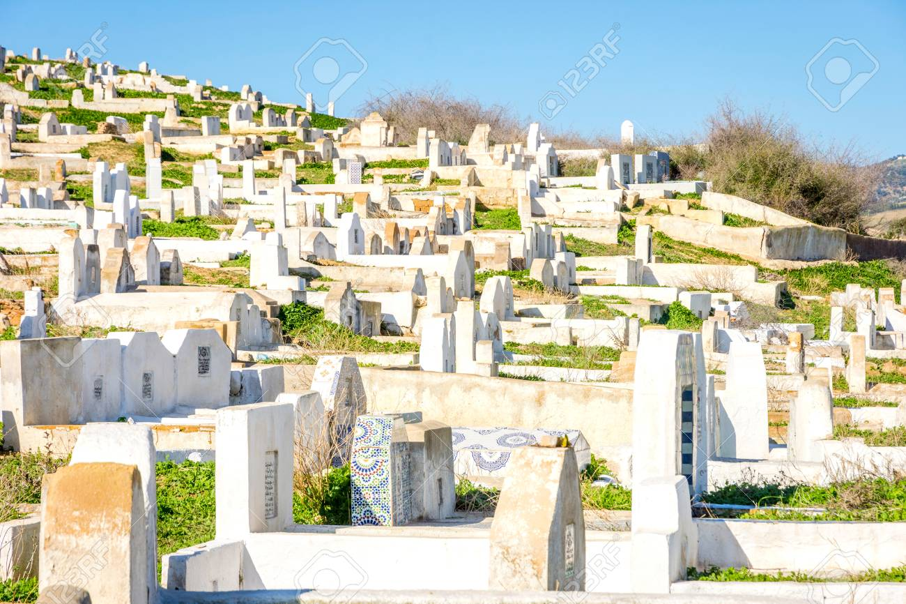 Muslim Cemetery on the hill outside of Fez, Morocco