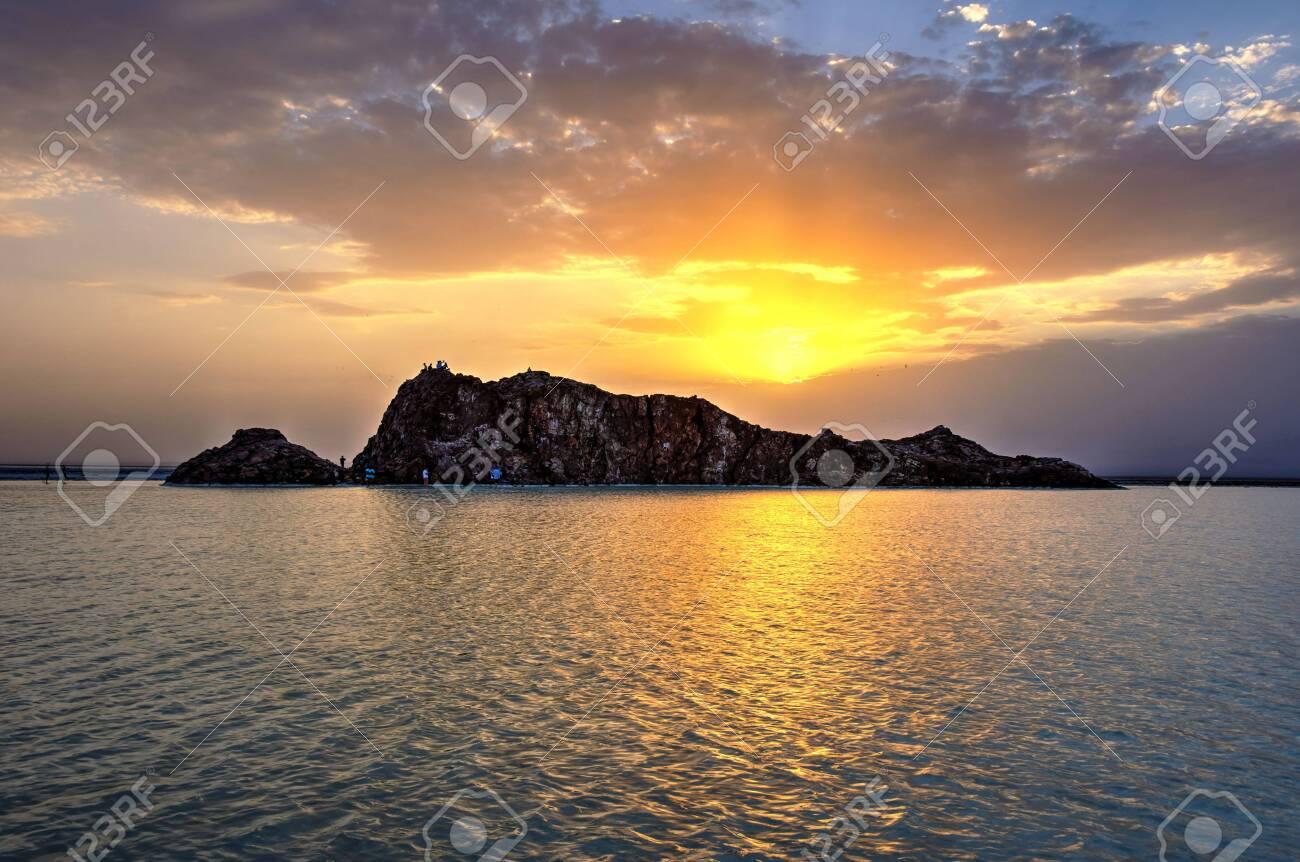 Danakil desert depression with salt flats and rocks in sunset, Ethiopia - 146376327