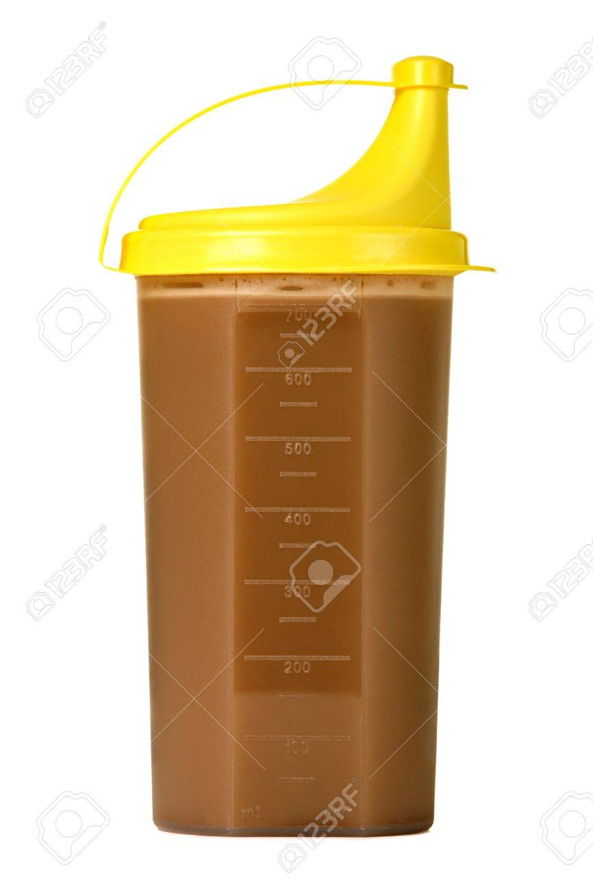 Protein shake in plastic shaker, isolated on white Stock Photo - 9411863