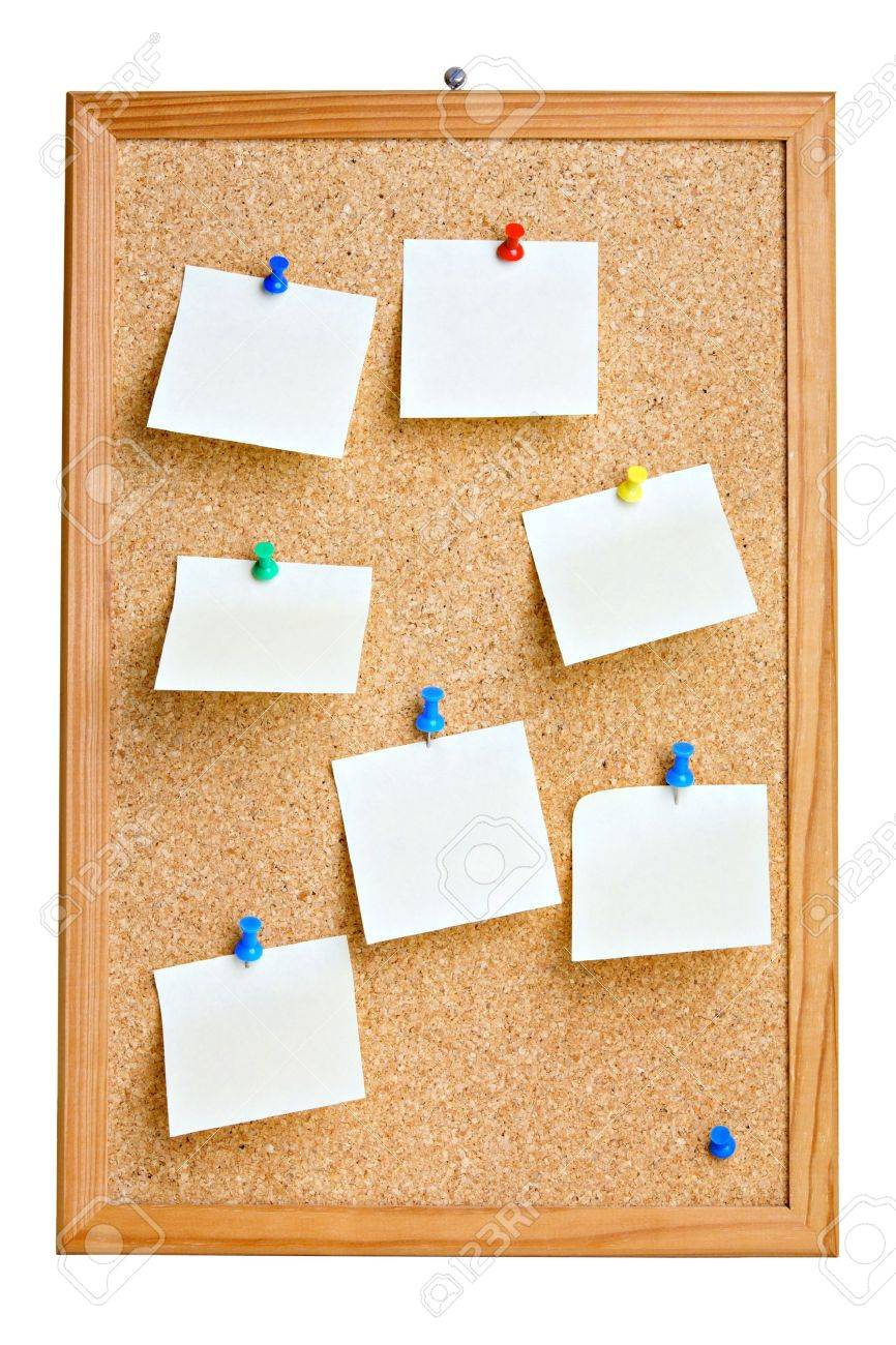 Cork board with blank notes , isolated on white Stock Photo - 9636389