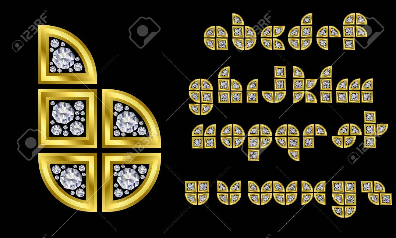 Golden alphabet with diamonds, letters from A to Z Stock Vector - 11126219