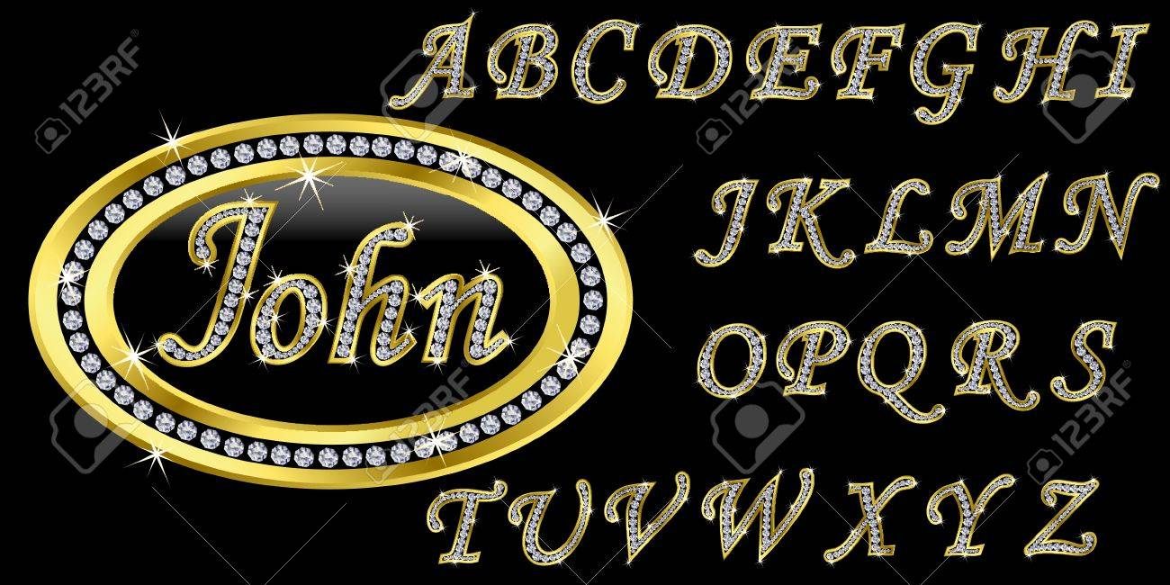 Golden icon with name, alphabet with diamonds, letters from A to Z, vector illustration Stock Vector - 11661465