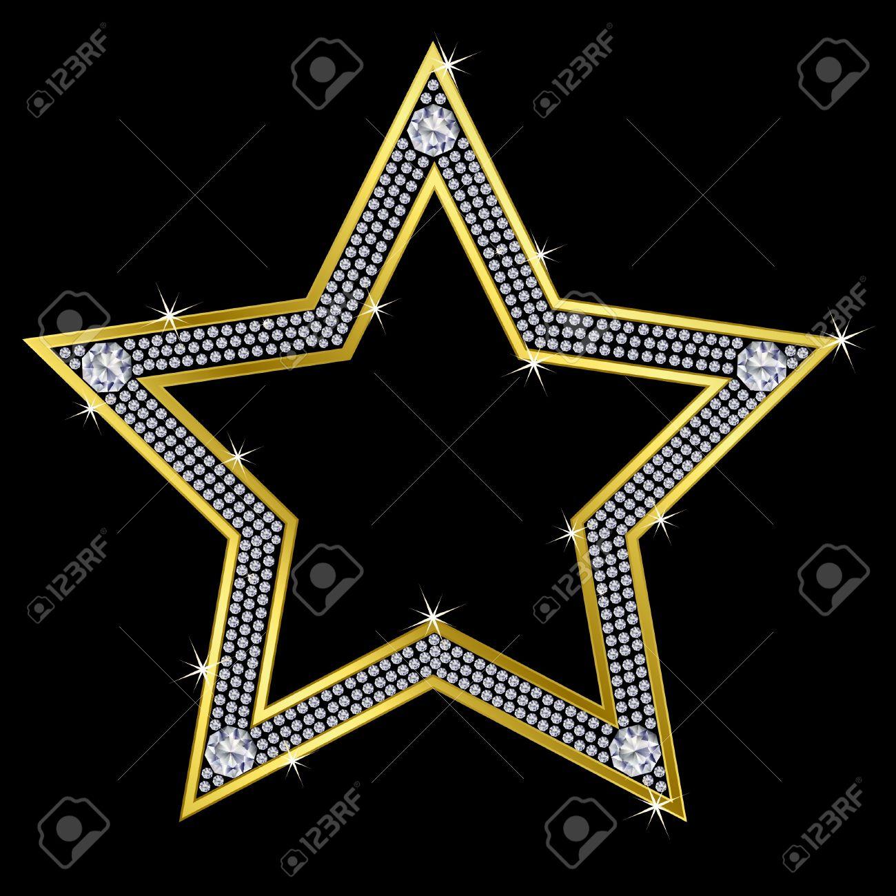 Golden star with diamonds, vector Stock Vector - 11657364