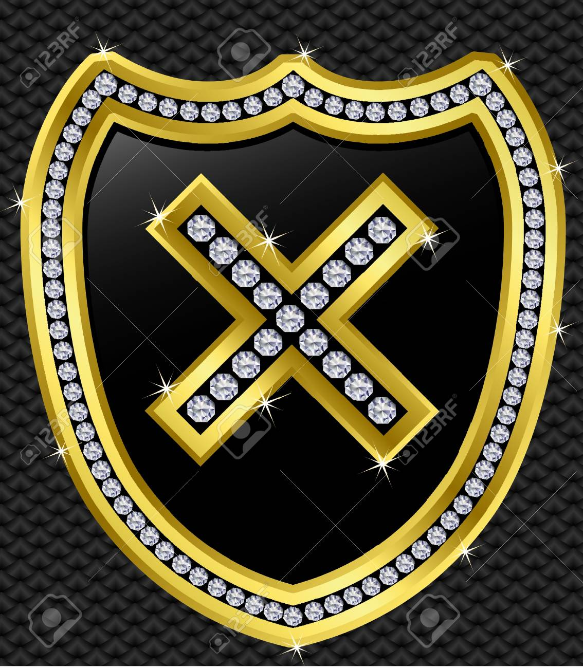 Protection shield with checked mark, golden with diamonds, vector illustration Stock Vector - 11660868
