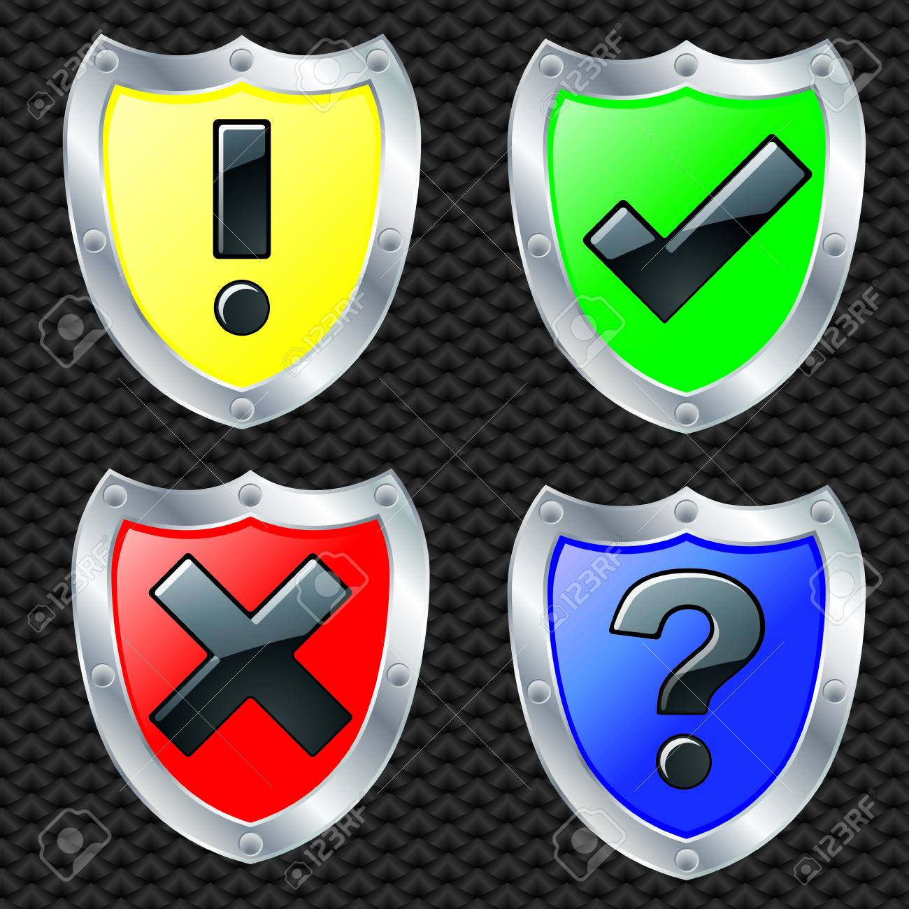 Set of security shields, silver frame, vector illustration Stock Vector - 11660853