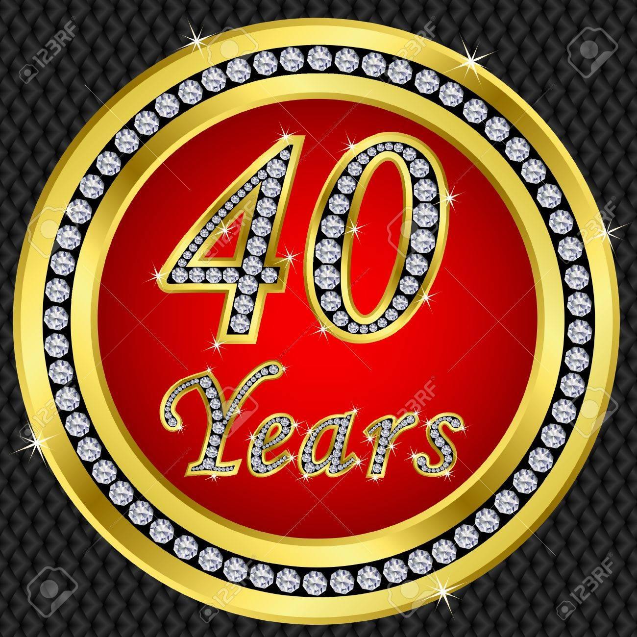 40 years anniversary golden icon with diamonds, vector illustration Stock Vector - 11659655