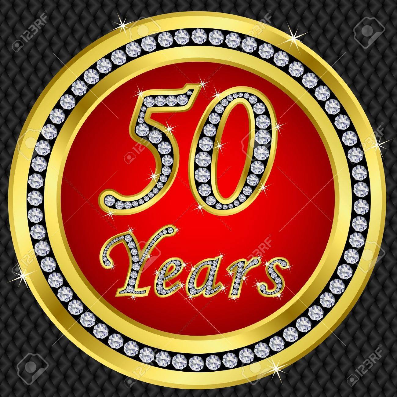 50 años bodas de oro con diamantes icono, ilustración vectorial Foto de archivo , 11659653
