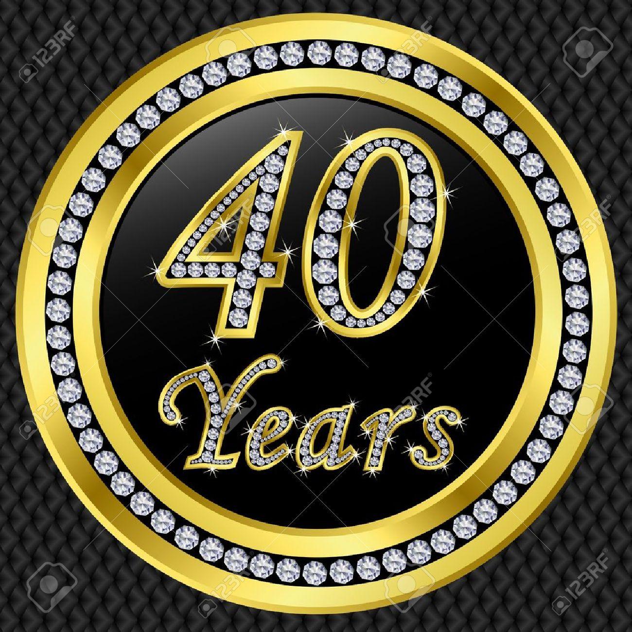 40 年記念ゴールデン アイコン ベクトル イラスト ダイヤモンド