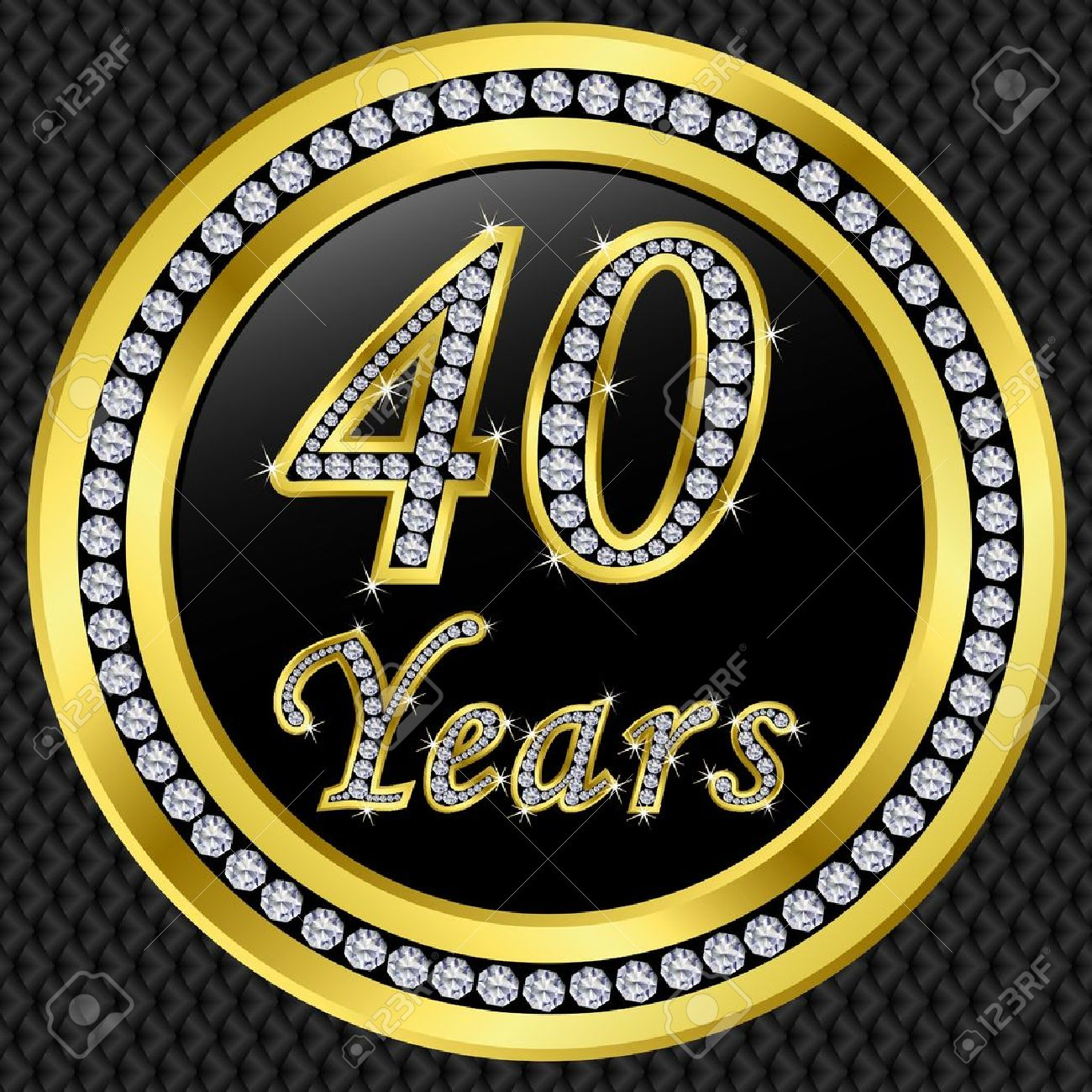 40 years anniversary golden icon with diamonds, vector illustration Stock  Vector - 11659656