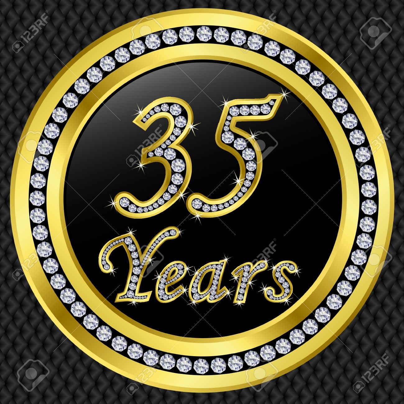 35 years anniversary golden happy birthday icon with diamonds, vector illustration Stock Vector - 11860290