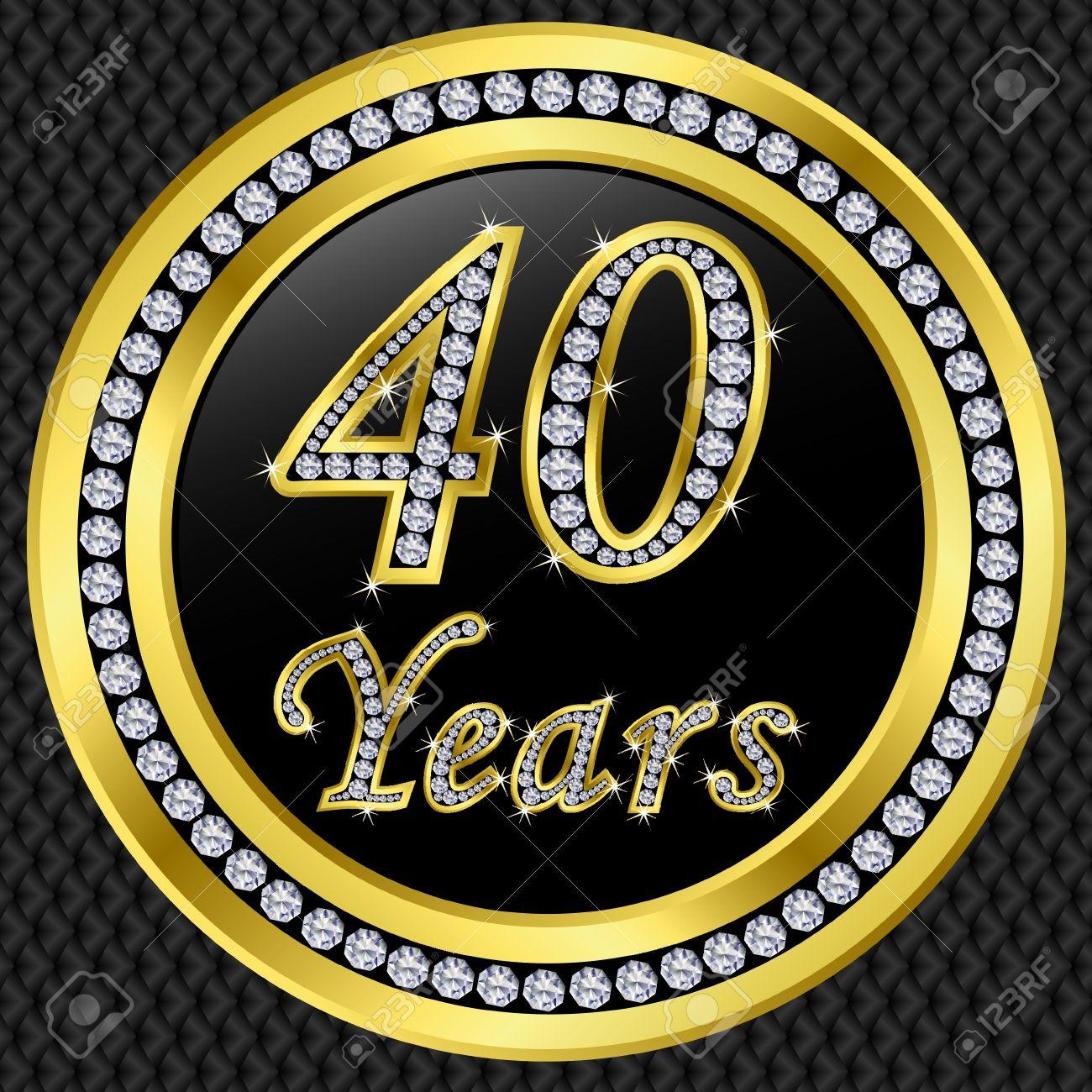40 Jahre Jubiläum Alles Gute Zum Geburtstag Goldene Symbol Mit