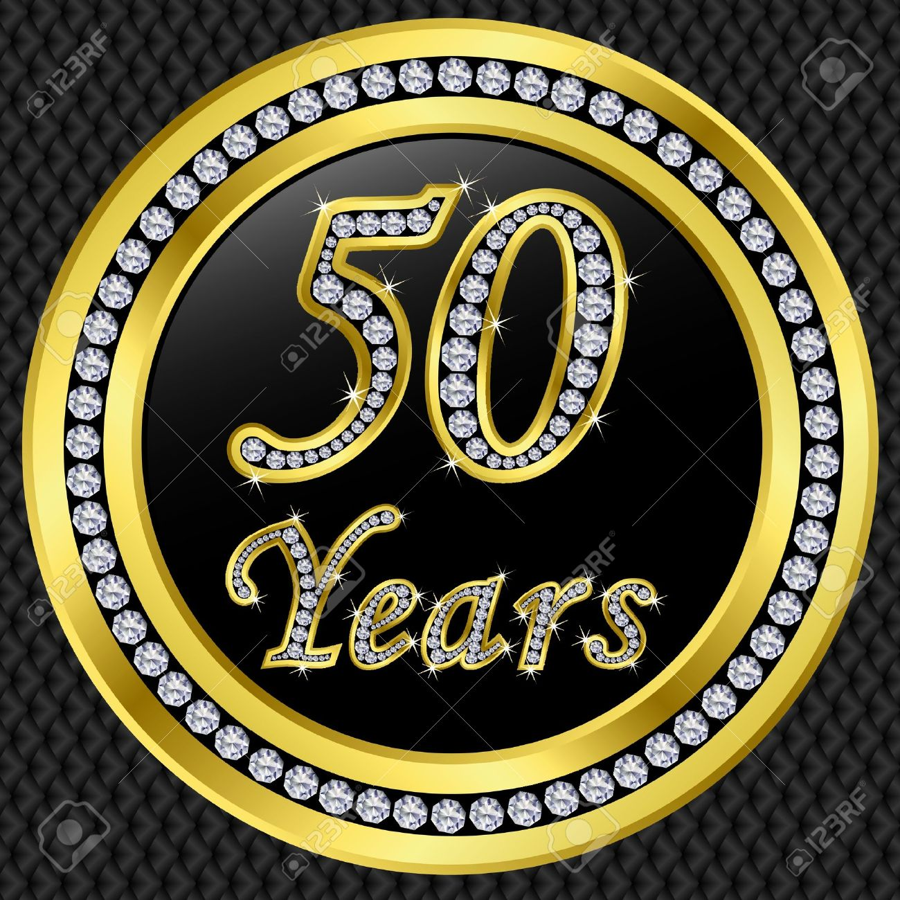 50 Years Anniversary Golden Happy Birthday Icon With Diamonds Vector Illustration Stock
