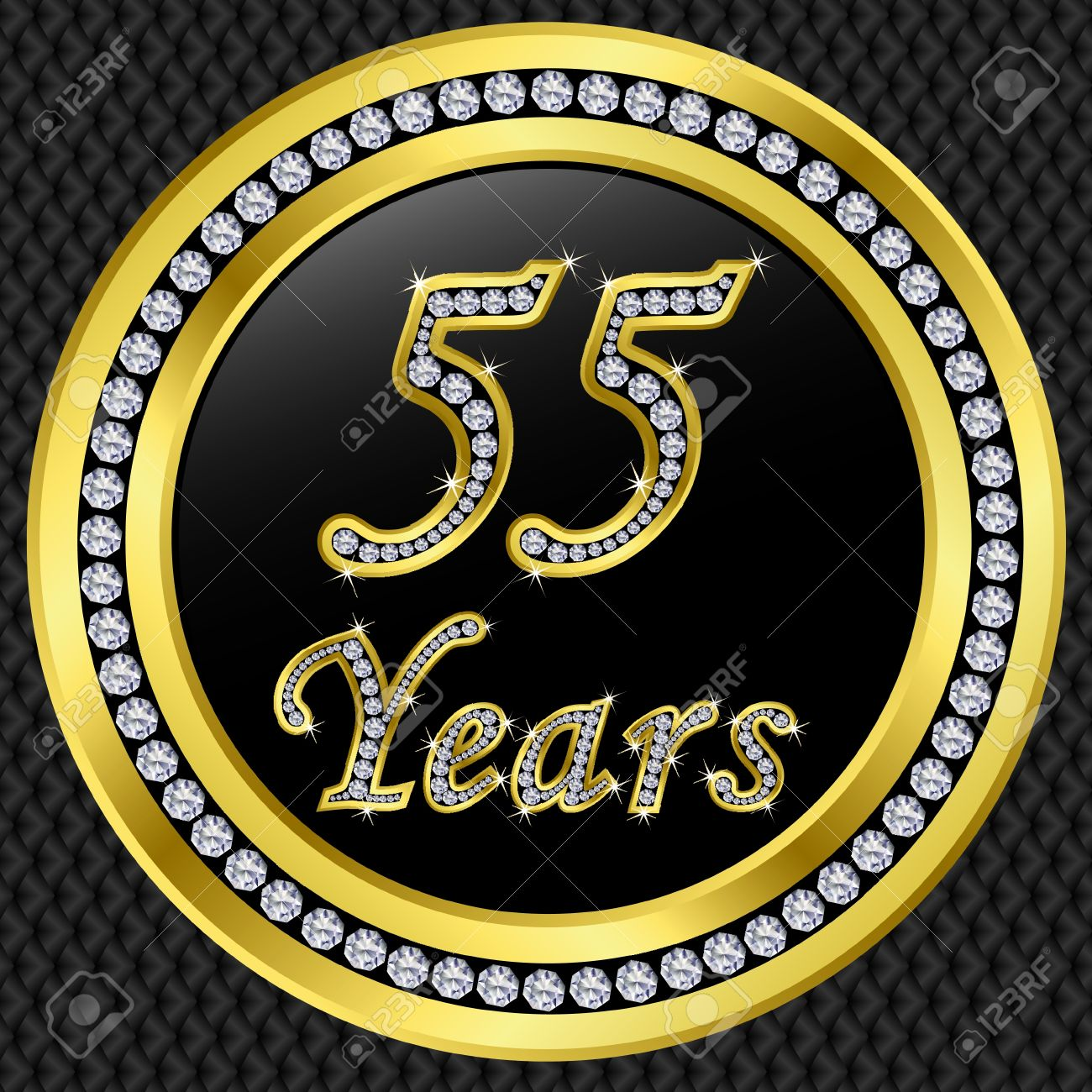 55 Years Anniversary Golden Happy Birthday Icon With Diamonds Vector Illustration Stock