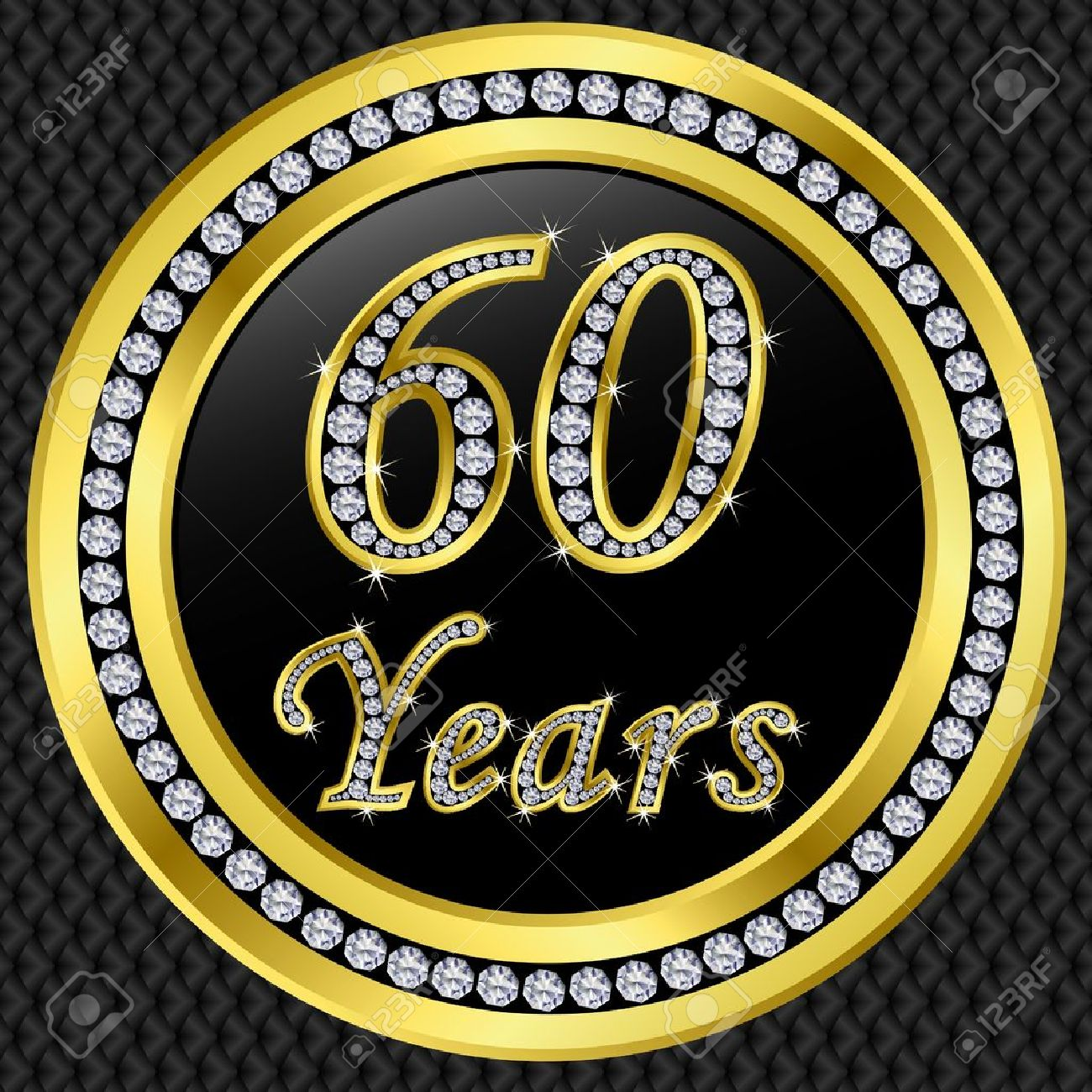 60 Años De Aniversario De Oro Icono De Feliz Cumpleaños Con Diamantes Ilustración Vectorial Ilustraciones Vectoriales Clip Art Vectorizado Libre De Derechos Image 11860296