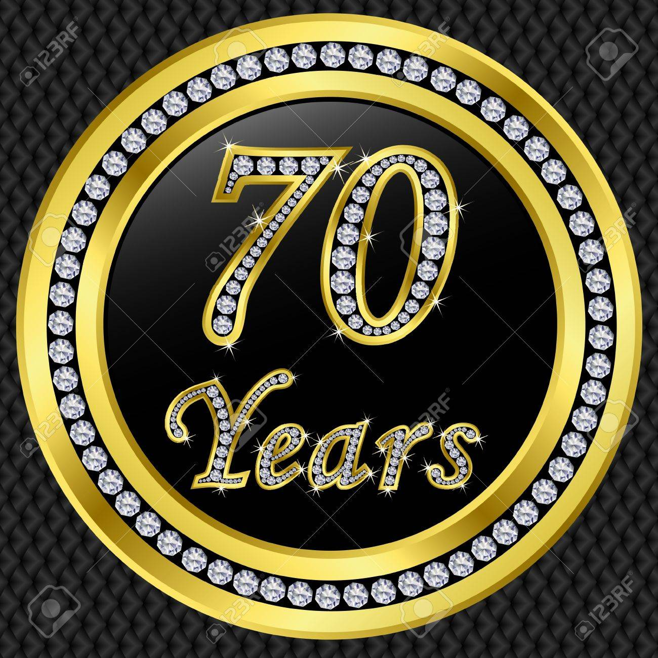 70 Years Anniversary Golden Icon With Diamonds, Vector ...