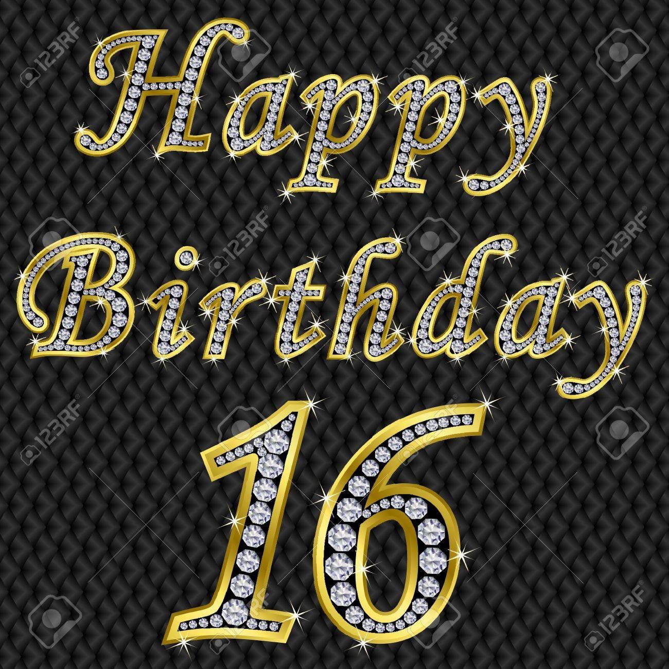 Happy 16 birthday, golden with diamonds, vector illustration Stock Vector - 11860288