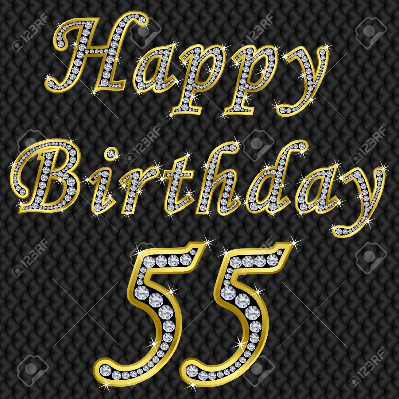 Happy 55 Birthday Golden With Diamonds Vector Illustration Stock