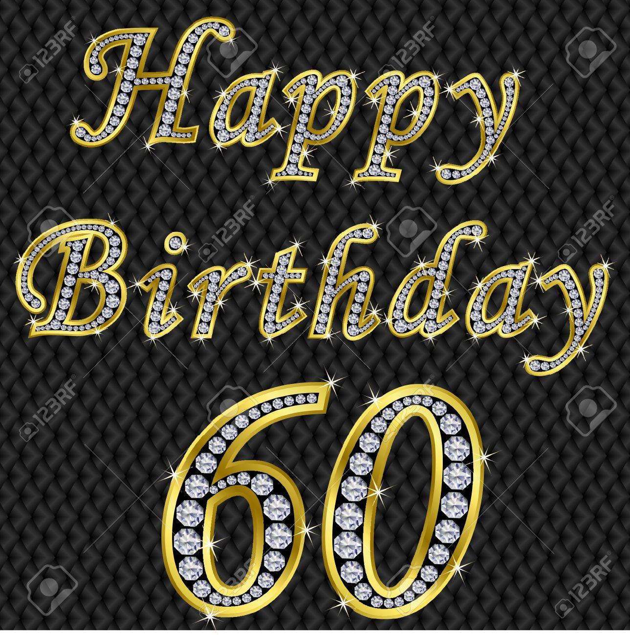 Happy 60 birthday, golden with diamonds, vector illustration Stock Vector - 11860295