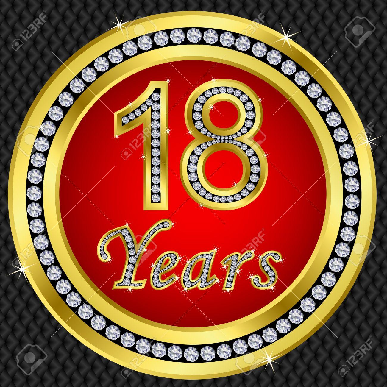 18 years anniversary golden happy birthday icon with diamonds, vector illustration Stock Vector - 11860293