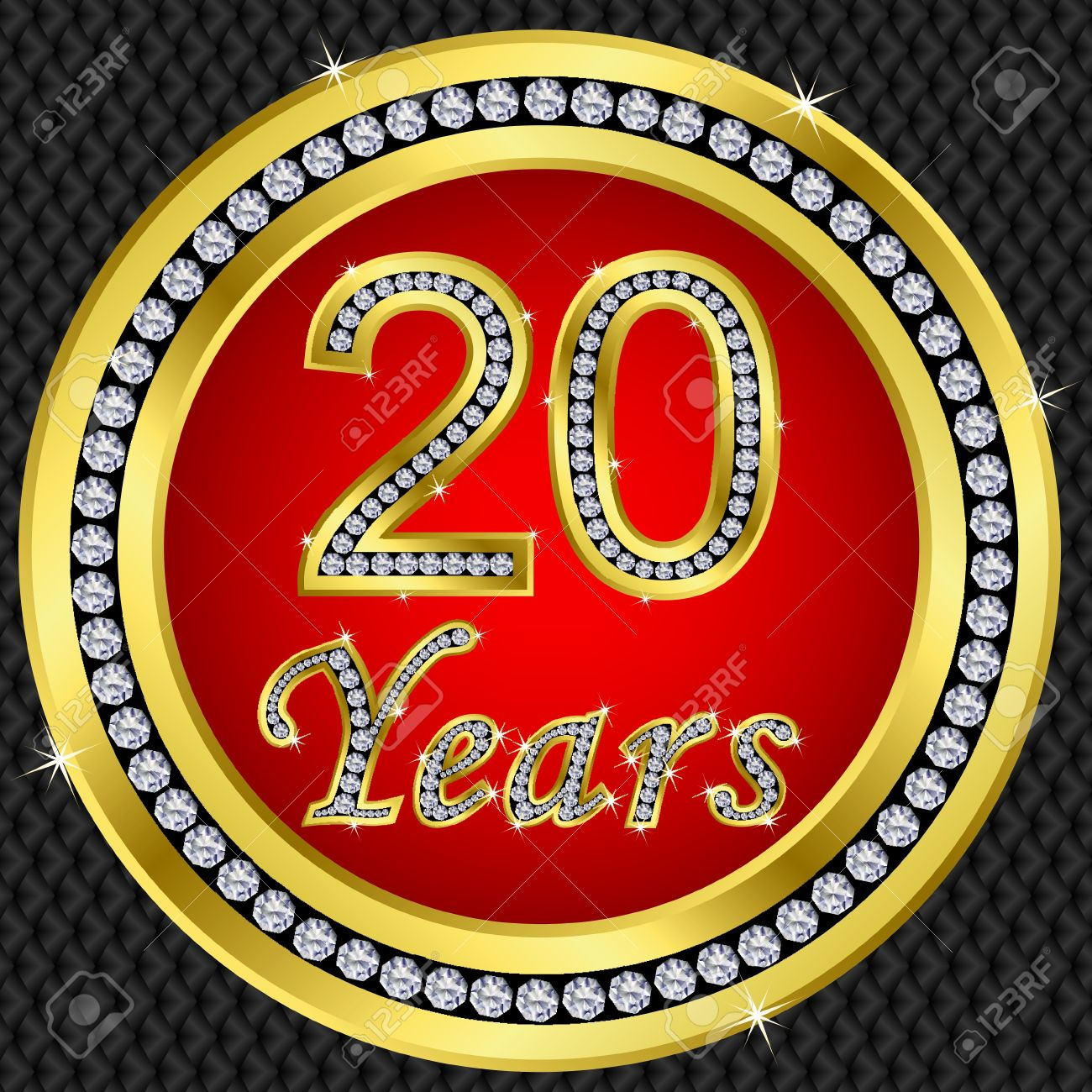 20 years anniversary golden happy birthday icon with diamonds vector stock vector