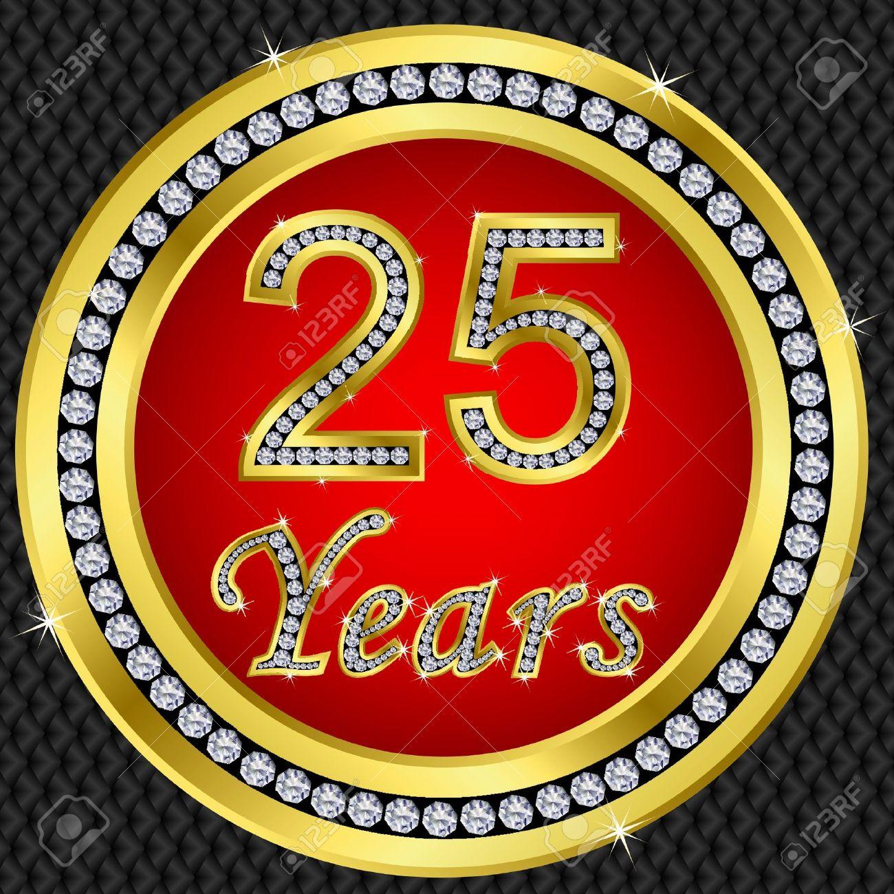 25 años bodas de oro icono de feliz cumpleaños con diamantes, ilustración vectorial Foto de