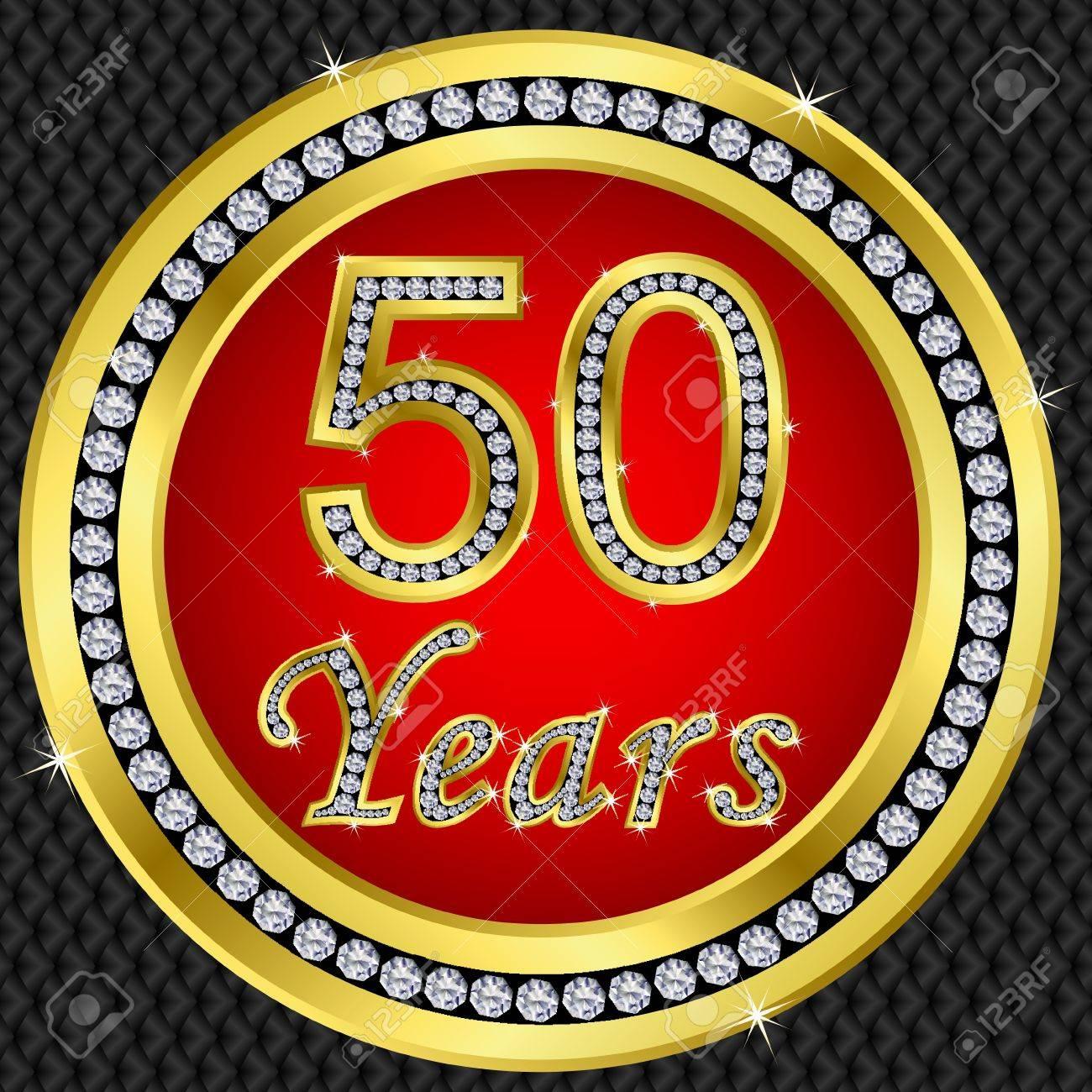 Anniversaire 50 Ans Icone Doree Joyeux Anniversaire Avec Diamants