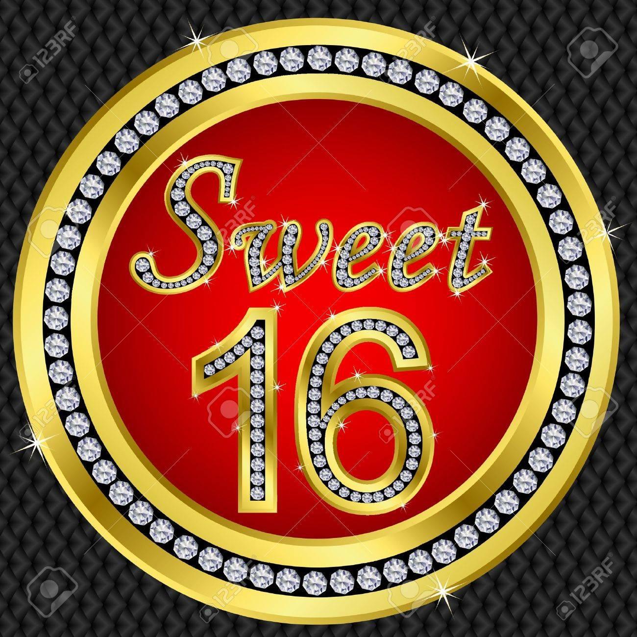 Sweet 16 years anniversary, happy birthday golden icon with diamonds, vector illustration Stock Vector - 11860280