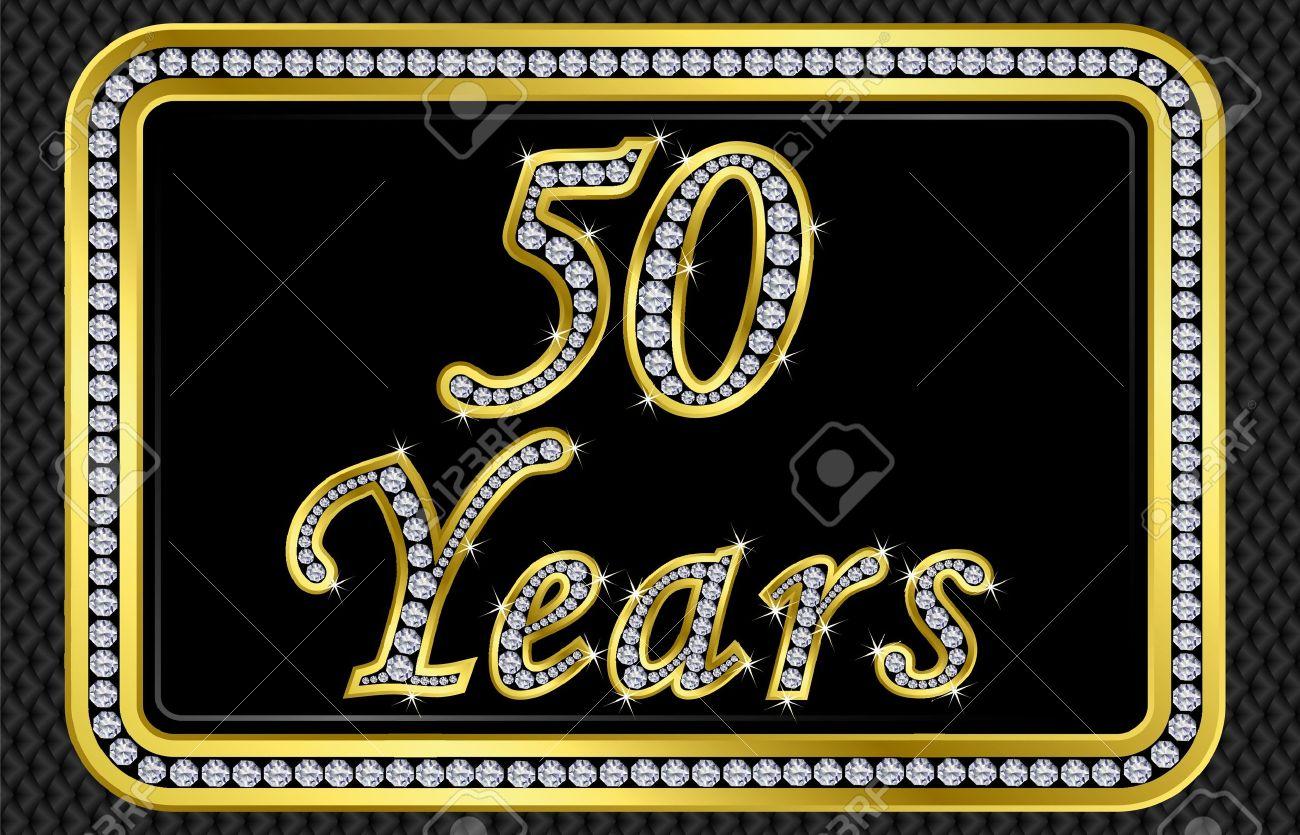 50 años de tarjeta de bodas de oro con diamantes, ilustración vectorial Foto de archivo