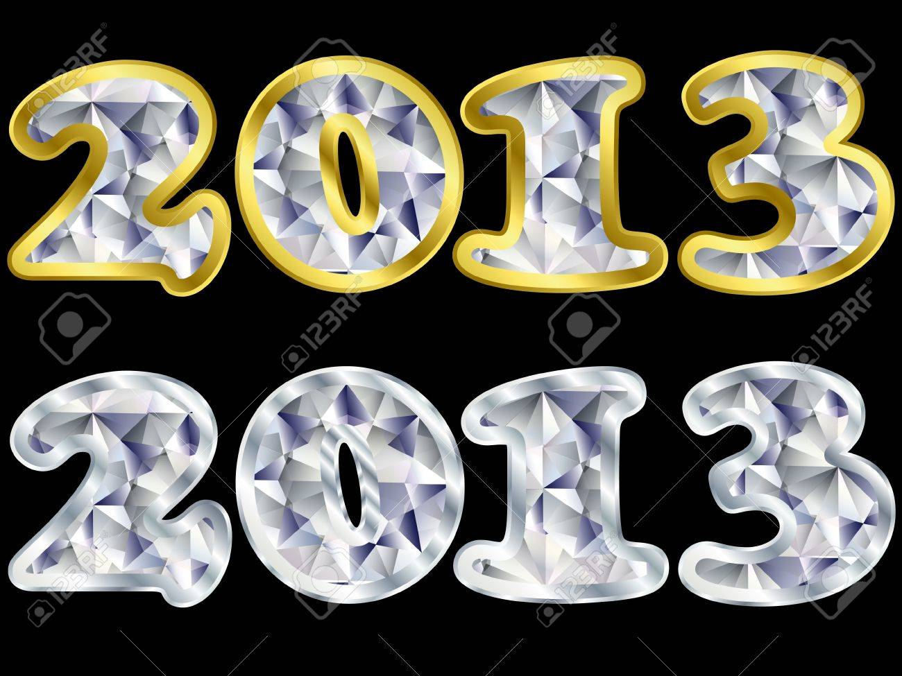 New year 2013 golden and silver with diamonds, vector illustratio Stock Vector - 11938108