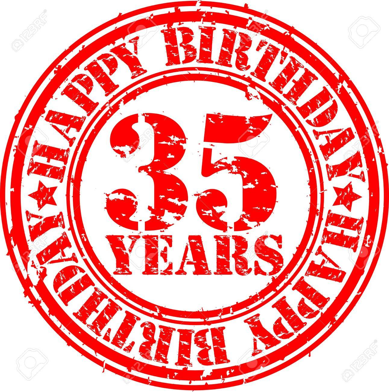 Grunge 35 years happy birthday rubber stamp, vector illustration Stock Vector - 13610813