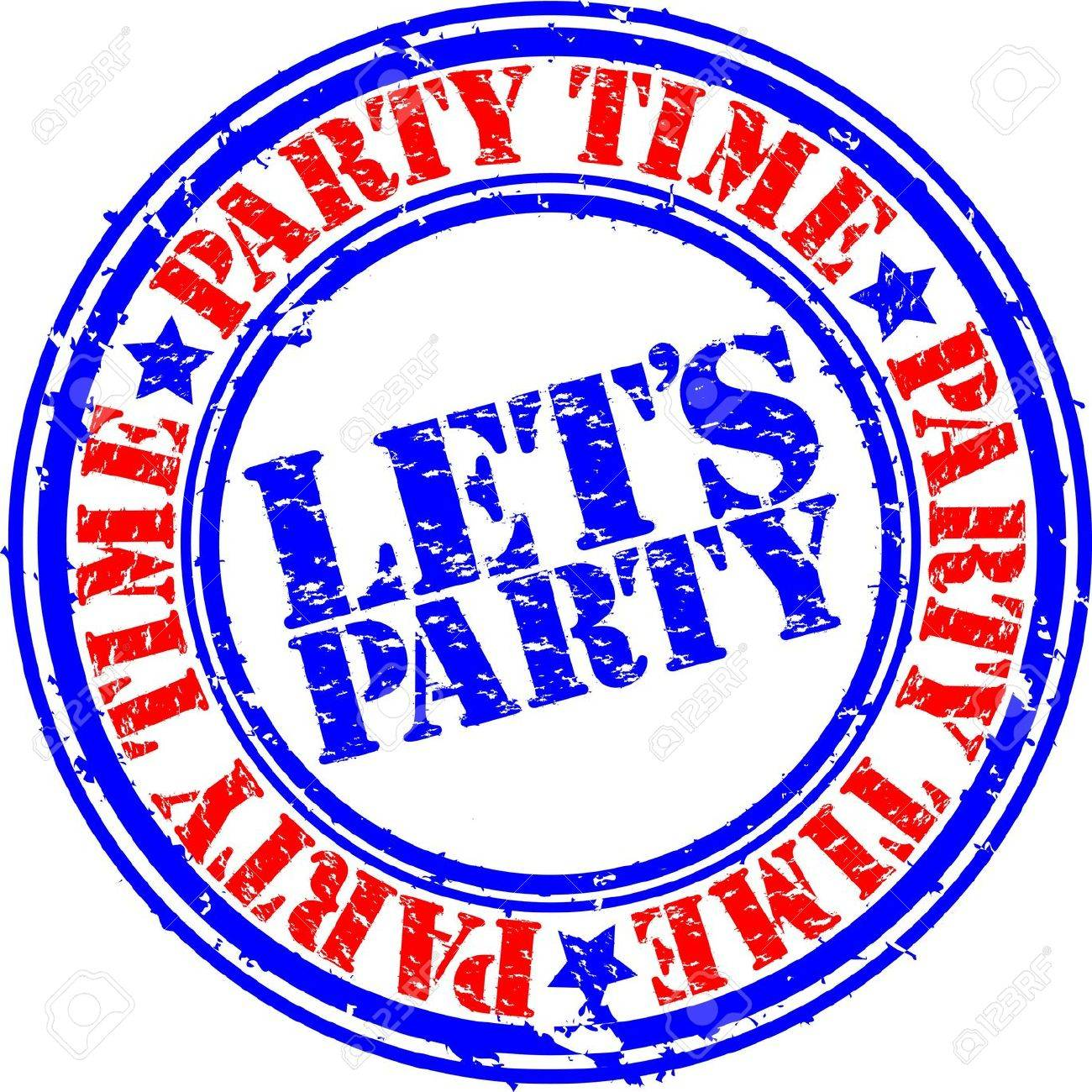 Grunge lets party rubber stamp, vector illustration Stock Vector - 13707626