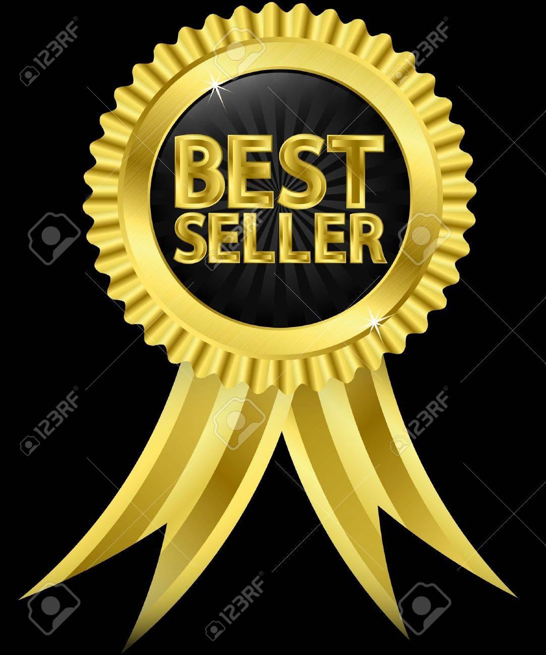 Best seller golden label with golden ribbons, vector illustration Stock Vector - 14634671