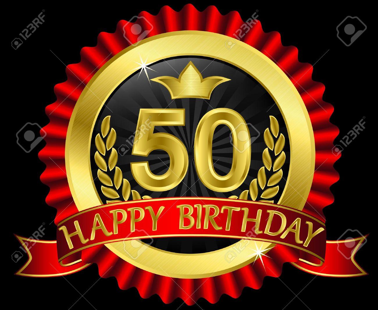 Ben noto 50 Years Happy Birthday Golden Label With Ribbons, Illustration  ZM94