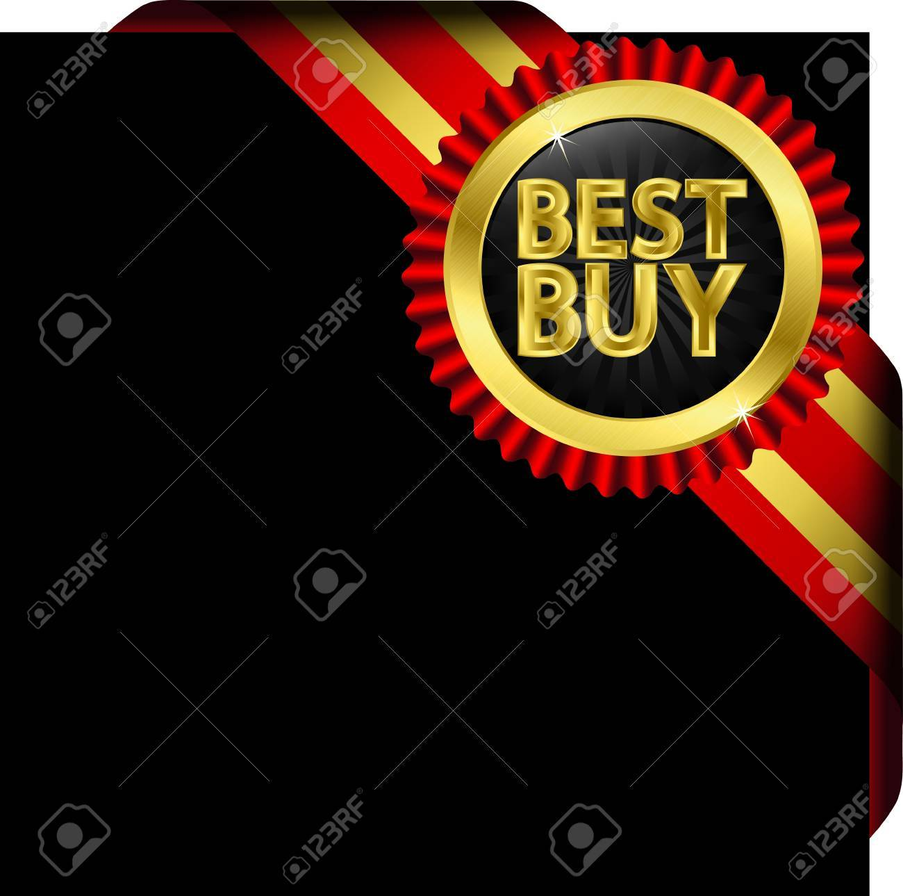 Best buy golden label with red ribbons Stock Vector - 14713815