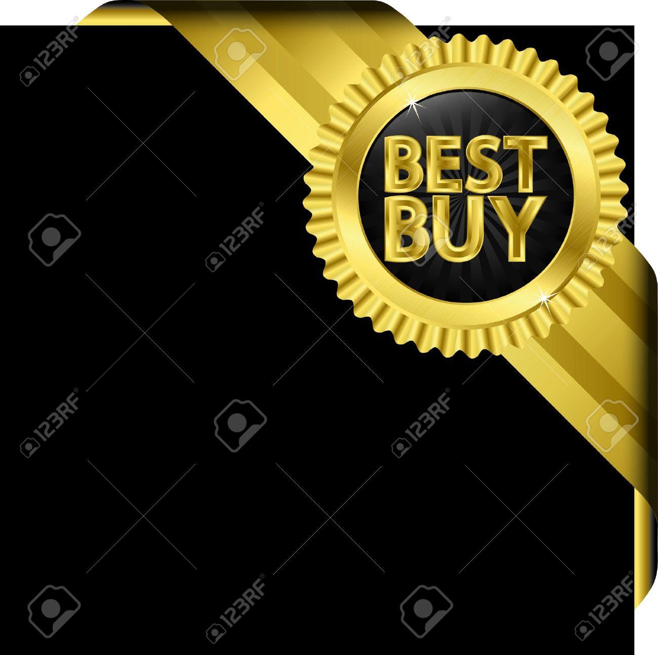 Best buy golden label with golden ribbons Stock Vector - 14713813