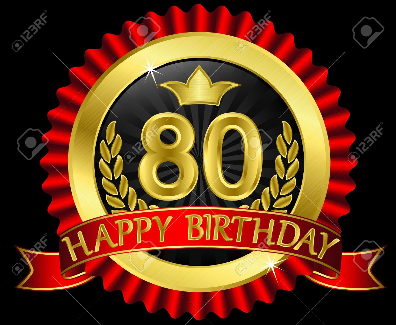 80 years happy birthday golden label with ribbons Stock Vector - 14713838